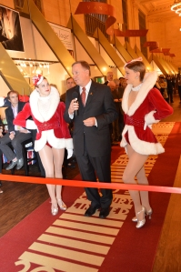 Randy Merritt with the Rockettes. Photo Courtesy: Shaw Floors